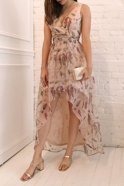 Saundra Blush Pink Floral High-Low Maxi Dress | Boutique 1861 model look