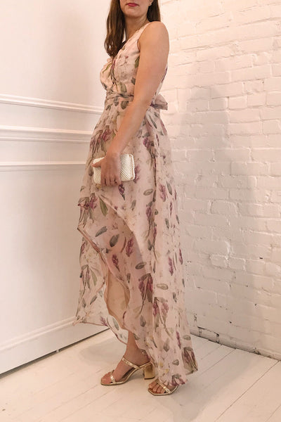 Saundra Blush Pink Floral High-Low Maxi Dress | Boutique 1861 model profile