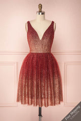 Saya Bourgogne Red Glittery Tulle & Mesh A-Line Dress | Boutique 1861