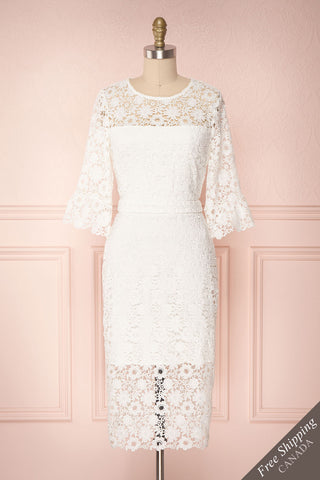 Sayanie White Crocheted Lace Fitted Cocktail Dress | Boudoir 1861
