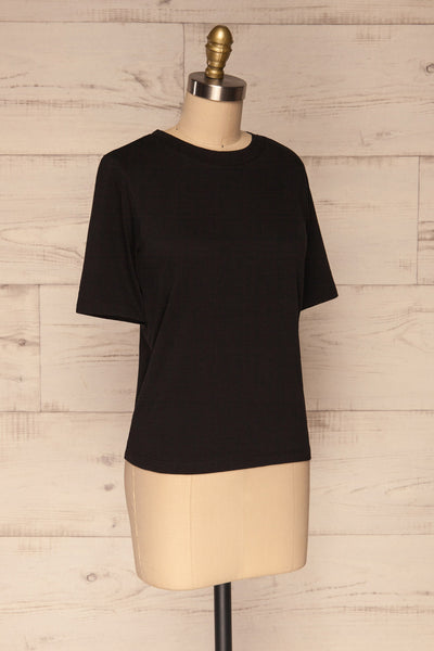 Schore Black Organic Cotton T-Shirt | La petite garçonne side view