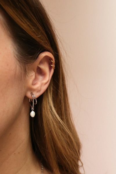 Scleractinia Silver Hoop Earrings with Pearl | La Petite Garçonne on model