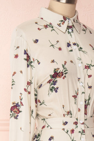 Seara Beige Floral Long Sleeved Shirt Dress | Boutique 1861 4