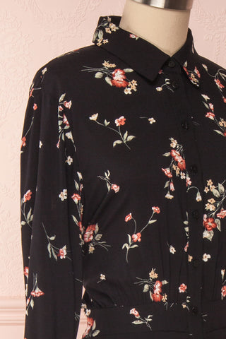 Seara Noir Black Floral Long Sleeved Shirt Dress | Boutique 1861 4
