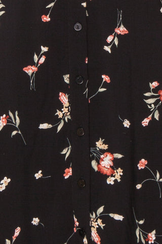 Seara Noir Black Floral Long Sleeved Shirt Dress | Boutique 1861 9