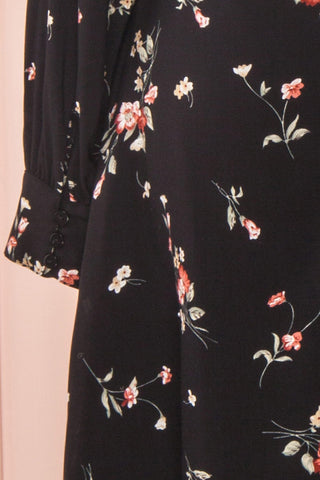 Seara Noir Black Floral Long Sleeved Shirt Dress | Boutique 1861 8