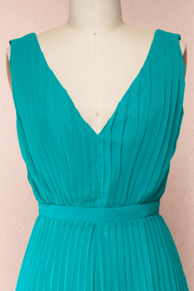 Segoleny Turquoise Pleated Wide Leg Jumpsuit | Boutique 1861 front close-up