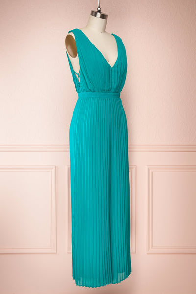 Segoleny Turquoise Pleated Wide Leg Jumpsuit | Boutique 1861 side view