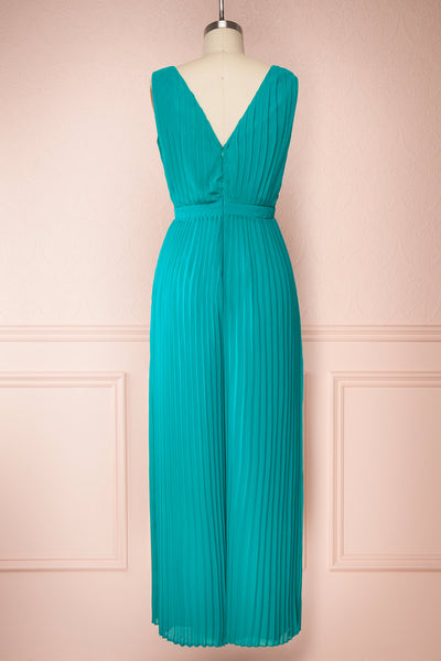 Segoleny Turquoise Pleated Wide Leg Jumpsuit | Boutique 1861 back view