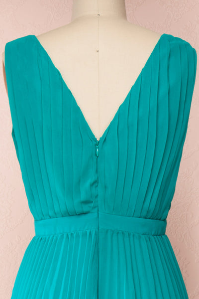 Segoleny Turquoise Pleated Wide Leg Jumpsuit | Boutique 1861 back close-up