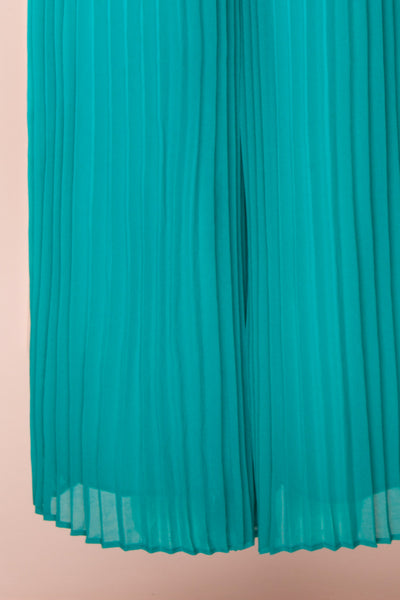 Segoleny Turquoise Pleated Wide Leg Jumpsuit | Boutique 1861 bottom