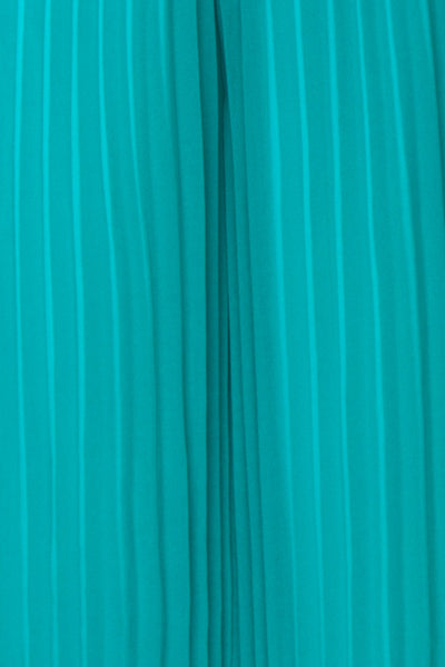Segoleny Turquoise Pleated Wide Leg Jumpsuit | Boutique 1861 fabric