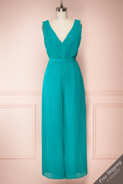 Segoleny Turquoise Pleated Wide Leg Jumpsuit | Boutique 1861 front view