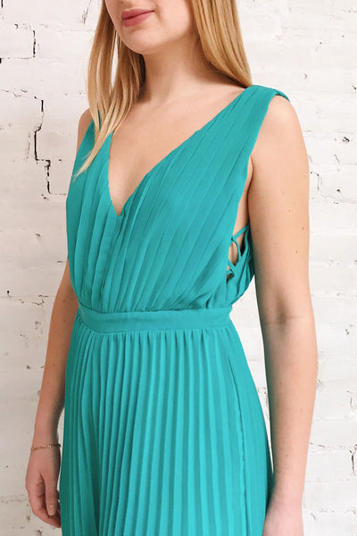 Segoleny Turquoise Pleated Wide Leg Jumpsuit | Boutique 1861 model close up