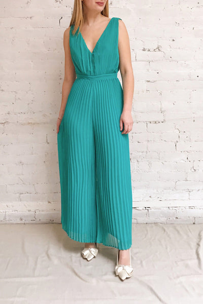 Segoleny Turquoise Pleated Wide Leg Jumpsuit | Boutique 1861 on model