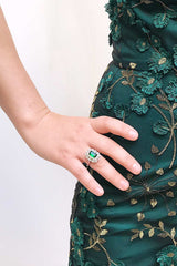Volsella Emerald Gem Set in Silver Statement Ring | Boutique 1861 2