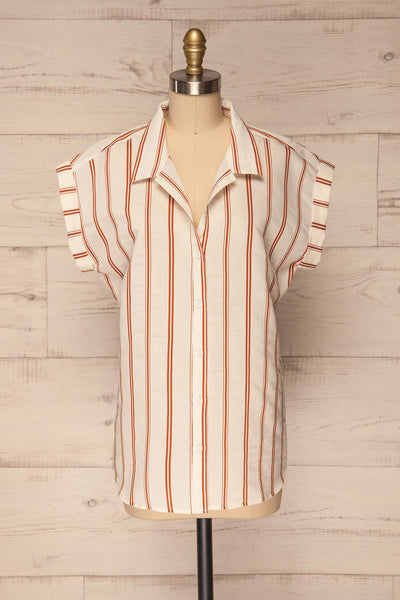 Seneffe White & Orange Striped Shirt | La Petite Garçonne