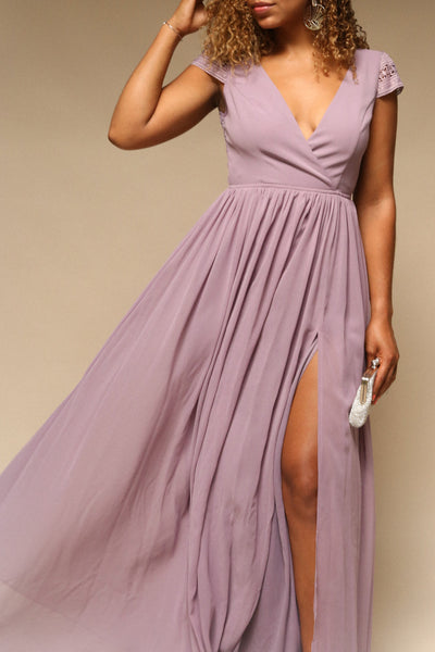 Senji Mauve | Purple Chiffon & Lace Gown