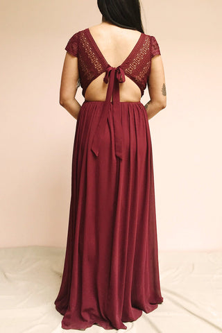 Senji Burgundy Chiffon & Lace Wrap-Style Gown | Boudoir 1861 model back