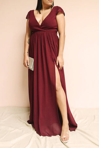 Senji Burgundy Chiffon & Lace Wrap-Style Gown | Boudoir 1861 on model