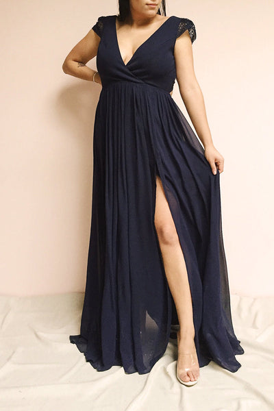 Senji Navy Blue Chiffon & Lace Wrap-Style Gown | Boudoir 1861 on model