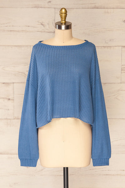 Sepino Blue Cropped Knit Sweater | La petite garçonne front view