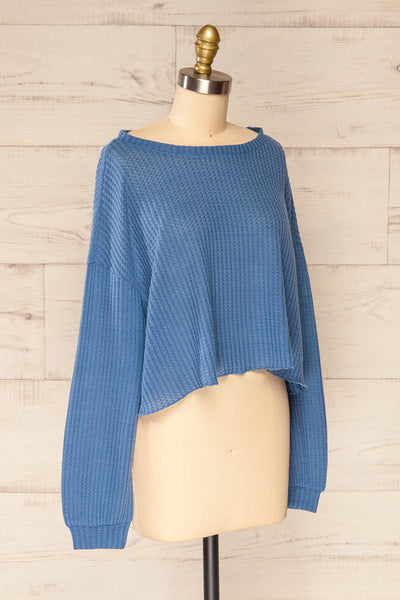 Sepino Blue Cropped Knit Sweater | La petite garçonne side view