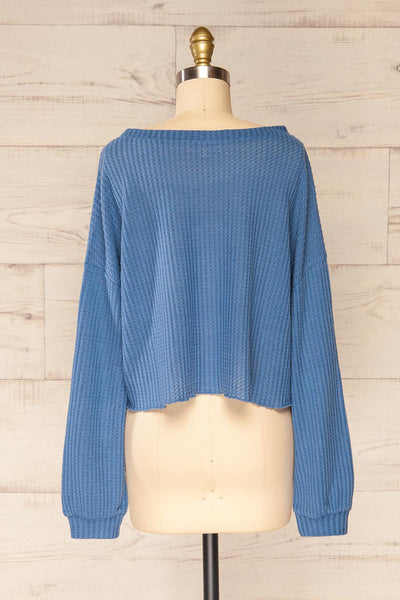 Sepino Blue Cropped Knit Sweater | La petite garçonne back view