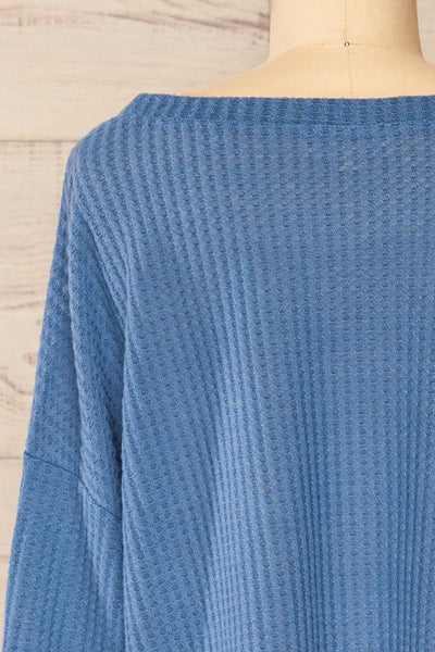 Sepino Blue Cropped Knit Sweater | La petite garçonne back close-up