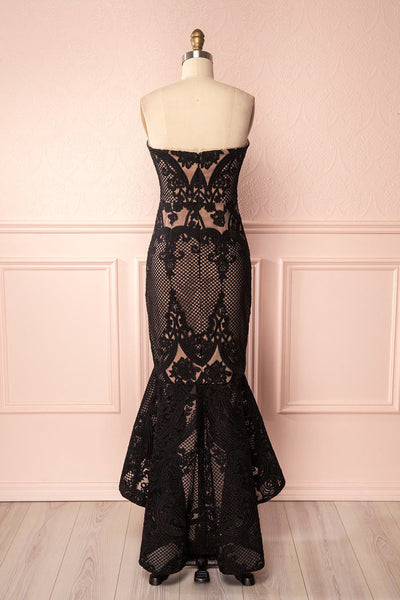 Seraya Dark Black & Beige Embroidered High-Low Gown | Boutique 1861