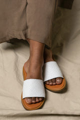 Serret White & Tan Woven Slip-On Sandals | La Petite Garçonne Chpt. 2
