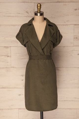 Servas Forest Green Tailored Collar Summer Dress | La Petite Garçonne