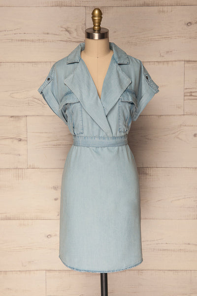 Servas Sky Blue Tailored Collar Summer Dress | La Petite Garçonne