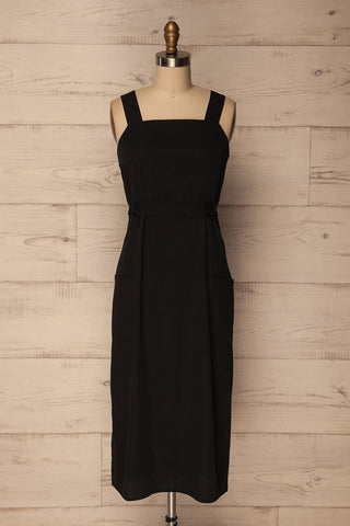Sesimbra Black Fitted Dress with Belt & Pockets | La Petite Garçonne