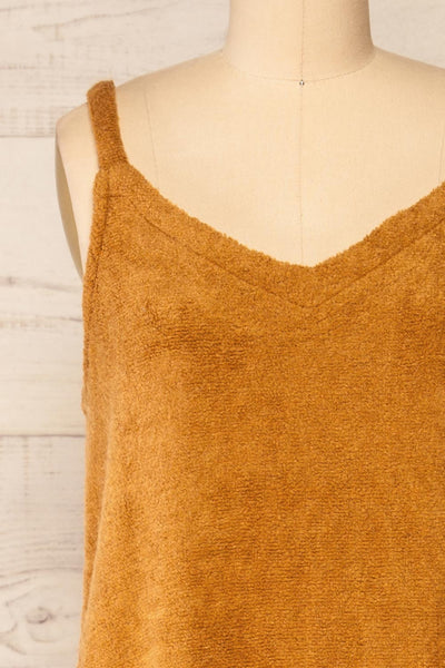 Set Diez Brown Textured Dress & Cardigan | La petite garçonne front close-up