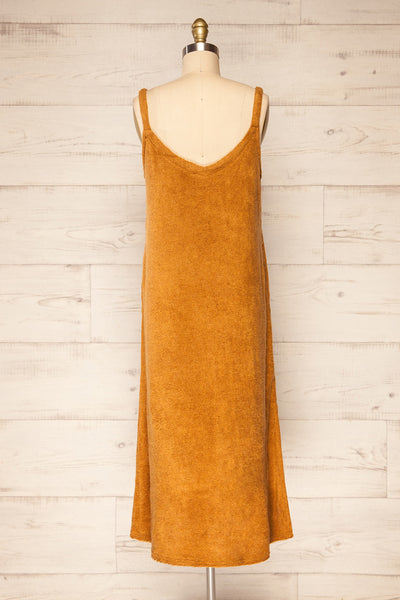 Set Diez Brown Textured Dress & Cardigan | La petite garçonne back view