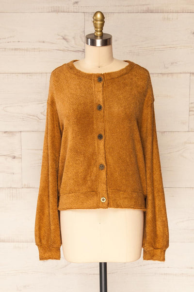 Set Diez Brown Textured Dress & Cardigan | La petite garçonne top front view