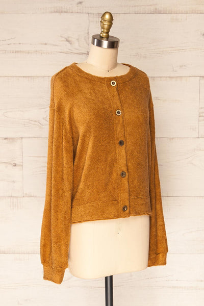 Set Diez Brown Textured Dress & Cardigan | La petite garçonne top side view