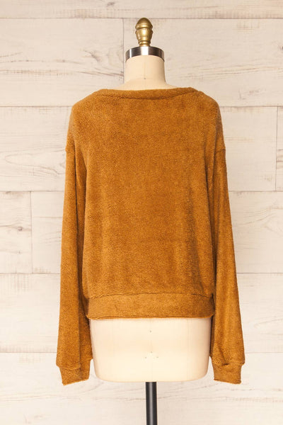 Set Diez Brown Textured Dress & Cardigan | La petite garçonne top back view