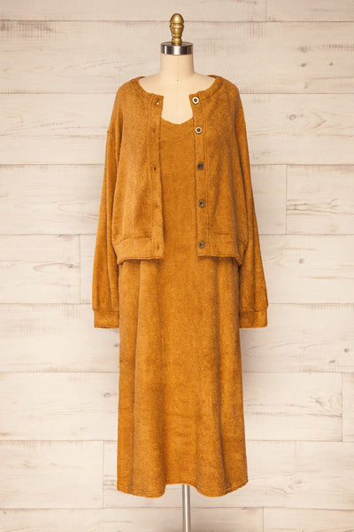 Set Diez Brown Textured Dress & Cardigan | La petite garçonne set