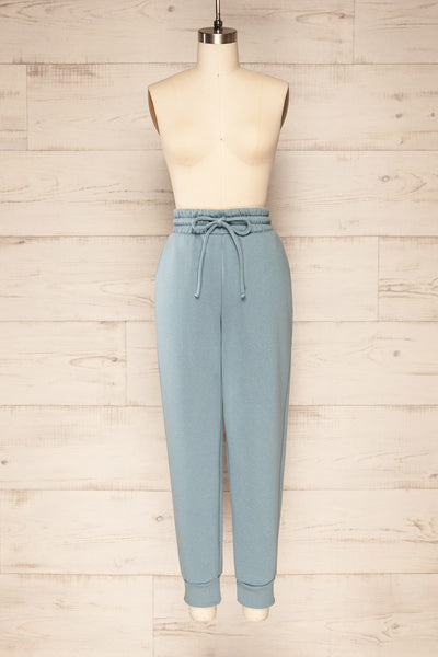 Set Luqa Denim Blue Sweater & Joggers | La petite garçonne front view