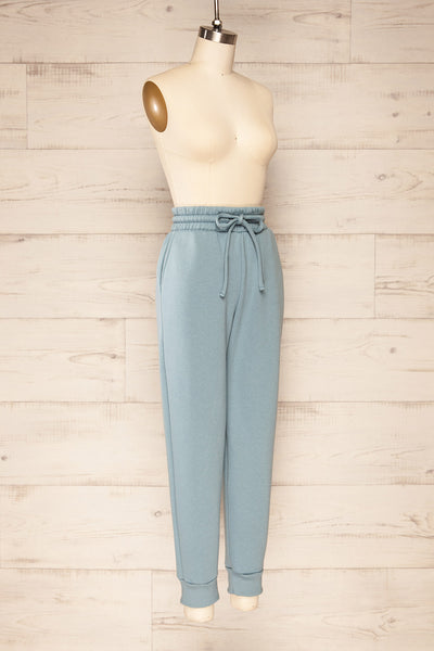 Set Luqa Denim Blue Sweater & Joggers | La petite garçonne side view