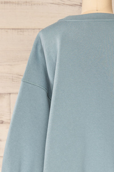 Set Luqa Denim Blue Sweater & Joggers | La petite garçonne top back close-up