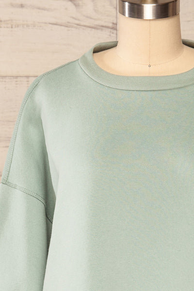 Set Luqa Green Sweater & Joggers | La petite garçonne front close up top
