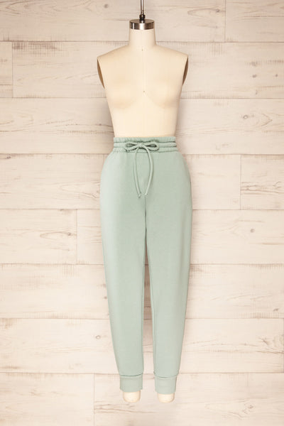 Set Luqa Green Sweater & Joggers | La petite garçonne front view pants