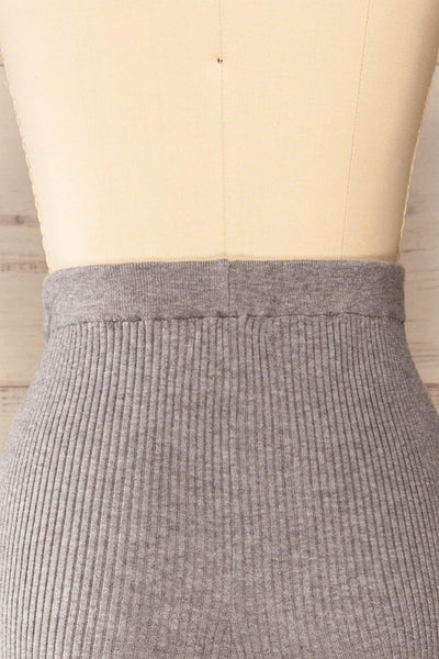 Marsa Grey Ribbed Lounge Set | La petite garçonne back close-up