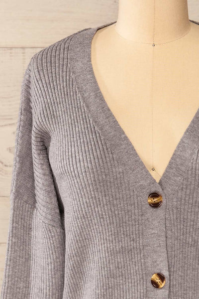 Marsa Grey Ribbed Lounge Set | La petite garçonne top front close-up