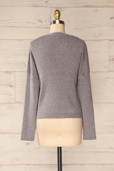 Marsa Grey Ribbed Lounge Set | La petite garçonne top back view