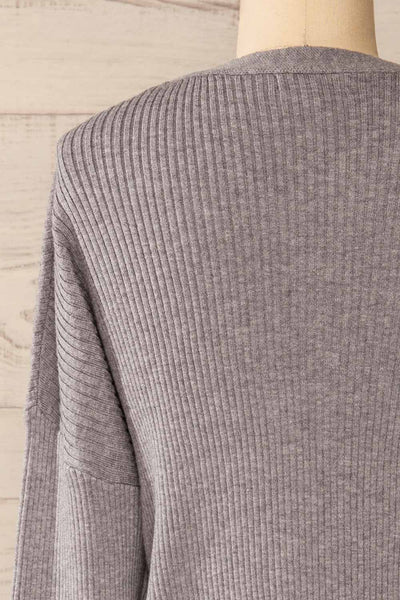 Marsa Grey Ribbed Lounge Set | La petite garçonne top back close-up