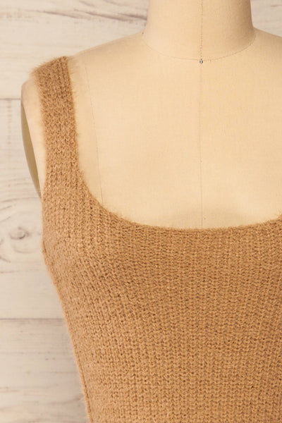 Set Ajka Camel Fuzzy Caridgan & Cami Set | La petite garçonne cami front close-up